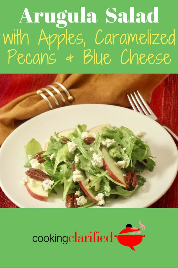 This Arugula Salad with Apples, Caramelized Pecans & Blue Cheese is the perfect blend of flavors -- salty blue cheese, sweet caramelized pecans, crunchy apples, a tart lemony vinaigrette and my favorite salad green (at least this week), arugula. Its peppery bite is a standout in a world of bland salad greens. (I'm looking at you, iceberg.)