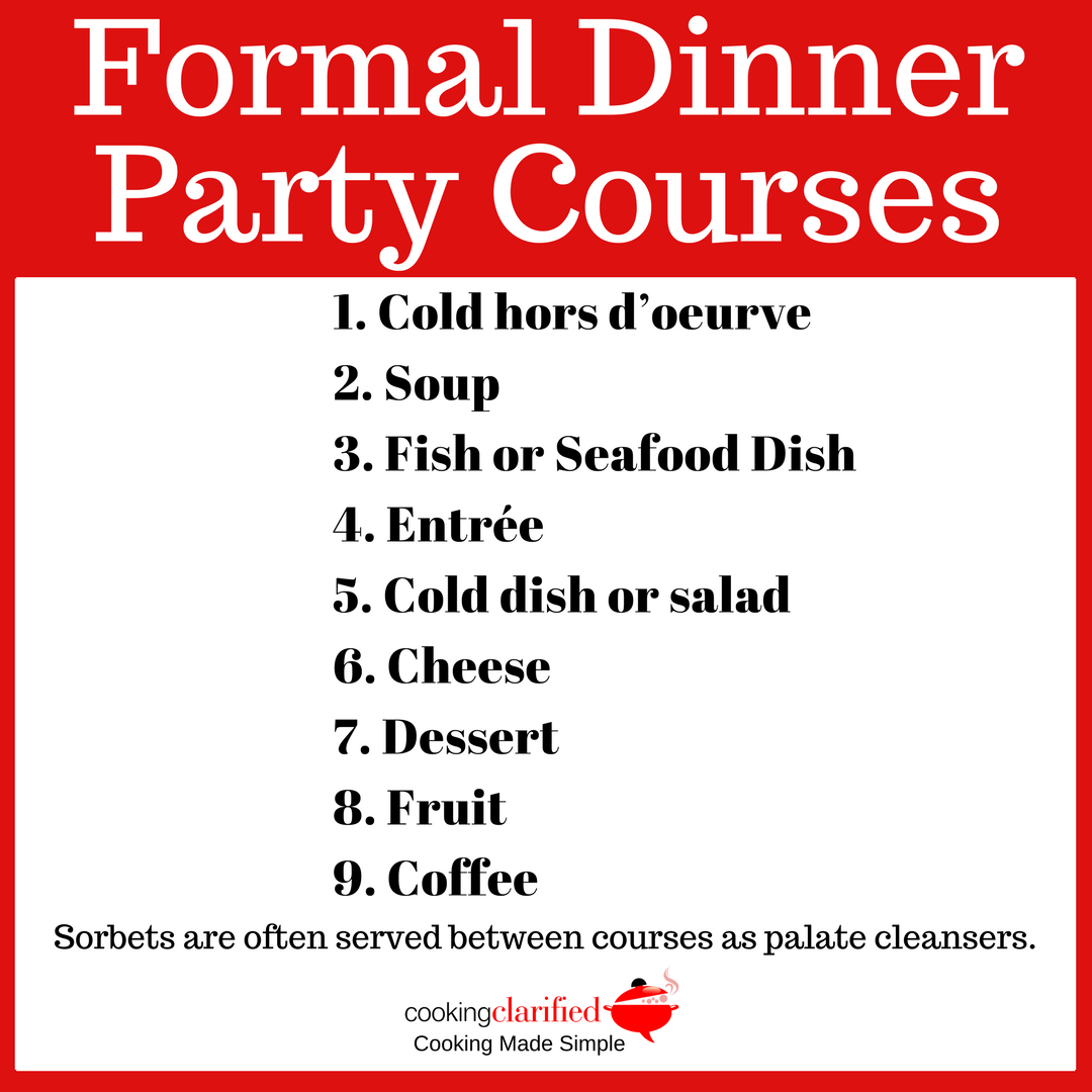 formal dinner party courses cooking clarified