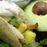 Fish Tacos with Mango-Avocado Salsa & Cilantro Cream