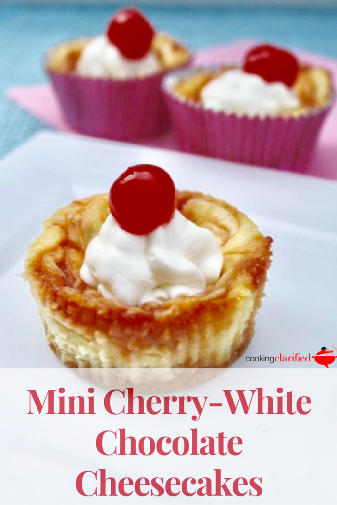 These Mini Cherry White Chocolate Cheesecakes are mini in size only. The undertones of ginger in the crust, combined with the sweetness of the cherry preserves offer a burst of flavor from top to bottom. The Greek yogurt makes the filling extra creamy. You're gonna love these!