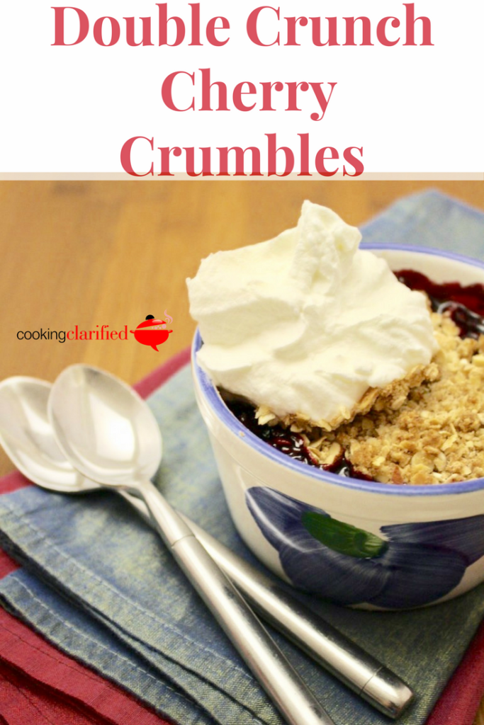 Give this Double Crunch Cherry Crumble a try! The name alone is like a love song to your taste buds. Consider this a bionic version of your typical crumble. The rich, cherry filling is topped with an almond and cinnamon streusel topping with a bonus crumble layer in the center.