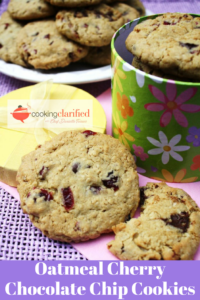 Dried cherries are the perfect complement to the semisweet chocolate chips in these Oatmeal Cherry Chocolate Chip Cookies. These cookies have a wonderful crunch, bu you can take them off the baking sheet immediately after removing them from the oven for a softer version.