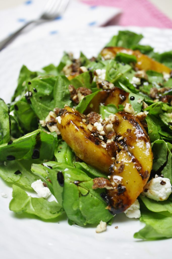 Grilled Peaches with Spinach & Goat Cheese