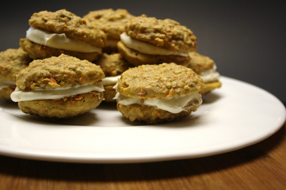 Carrot Cake Cookies with Cream Cheese Frosting —