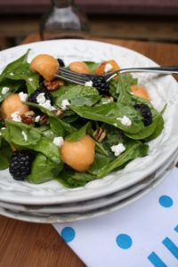 Spinach, Blackberry & Canteloupe Salad with Raspberry vinaigrette