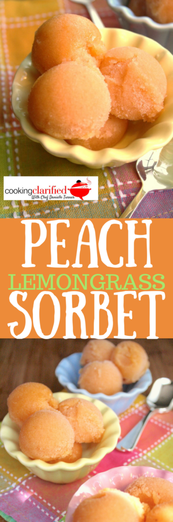 This Peach Lemongrass Sorbet is made by combining a simple syrup and a fruit puree, in this case peaches. Unlike ice cream, sorbet has no dairy in it, which makes it ridiculously simple to make. Most sorbets, the really good ones anyway, always have a little tartness added to help bring out the flavor of the fruit and balance the sweetness of the simple syrup. Lemon or lime juice are the usual suspects but a little leftover lemongrass made its way into this batch and it's my new favorite thing.