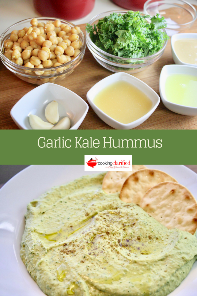 Learn to make this simple and delicious Garlic Kale Hummus, a tasty way to add a flavor and vitamin boost to your next batch of hummus!