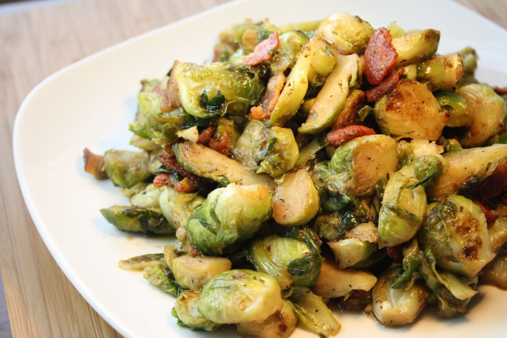 Bourbon & Maple Braised Brussel Sprouts with Bacon
