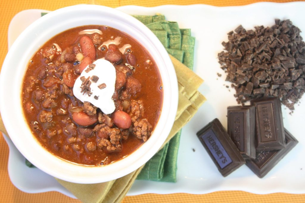 Easy Halloween Menu - chili with Dark Chocolate
