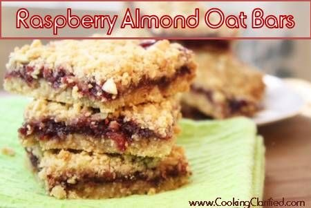 These Raspberry Almond Oat Bars are the real deal. Really easy to make. Really delicious. You won't be able to stop at one but we can take comfort in the fact that there's some fruit and heart-healthy oats in there, can't we? Try these and I promise you'll they'll be your new favorite.