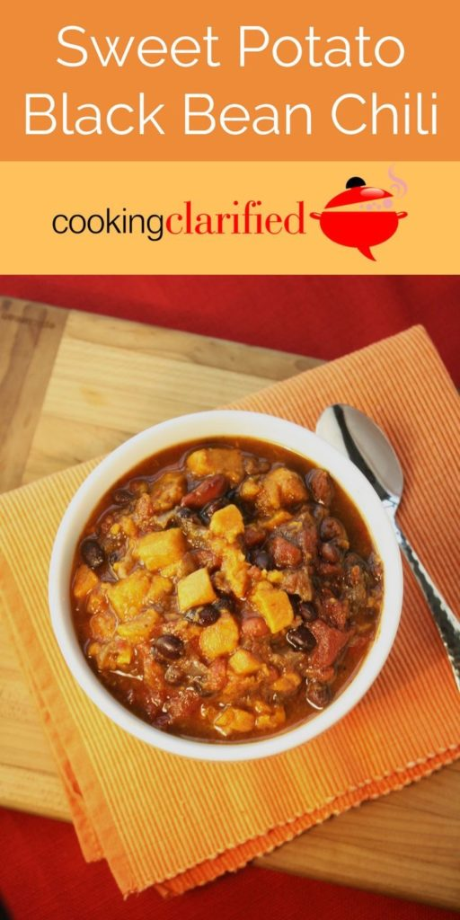 This Sweet Potato Black Bean Chili is so delicious and filing you won't even miss the meat. Plus it's full of nutrients your heart needs!