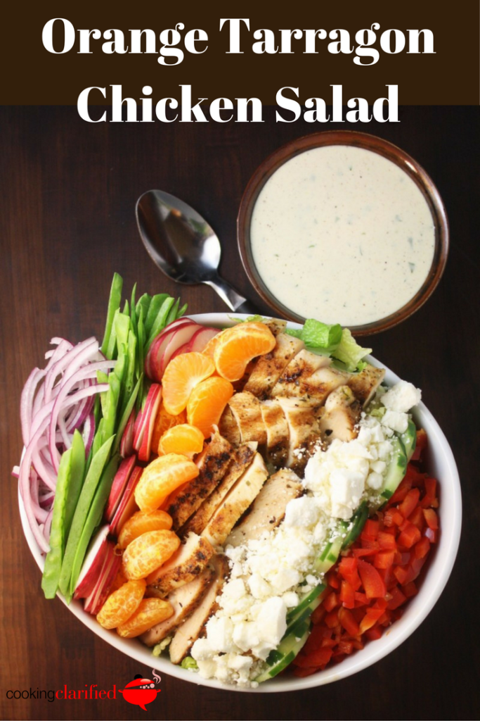 This Orange Tarragon Chicken Salad is a glorious mound of fresh veggie crunch – radishes, snow peas, cukes and red bell pepper. Add in the sweetness of the orange segments and the salty feta and you've got a flavor for every taste bud.