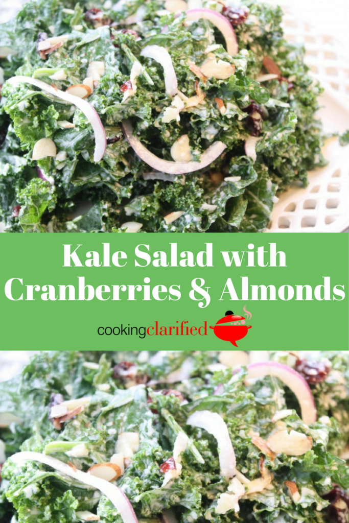 This Kale Salad with Cranberries & Almonds is the most delicious way to get more kale into your diet. The creamy dressing softens the kale. The crunch of the almonds and the tart-sweetness of the dried cranberries make sure you have a burst of flavor in every bite.