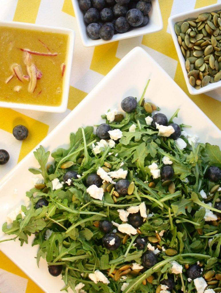 Arugula Salad with Blueberries, Pumpkin Seeds & Feta