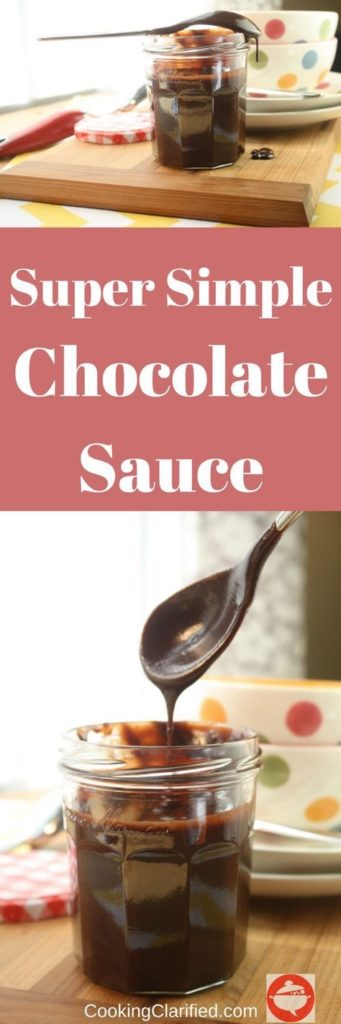 This super simple Chocolate Sauce kicks store-bought chocolate sauce's butt. For real. One drizzle of this and you'll never want to buy chocolate sauce again. You'll be all - make chocolate sauce from scratch, ALL THE TIME. Even if you've been telling yourself you can't cook or it's too hard or it's easier to just buy it. Seriously, give me 10 minutes, four ingredients and your life will be forever changed. **Overstatement Alert*** (Your life will be forever changed only to the extent that you LOVE chocolate.)