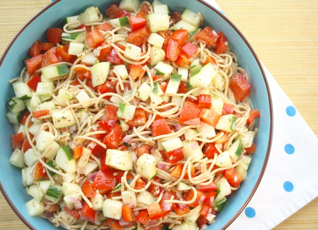 This Veggie Spaghetti Salad's a no-brainer. Boil a little pasta. Chop a few veggies. Toss with an out of this world delicious Italian Dressing and your too-hot-to-turn-on-the-oven salad's ready to serve!