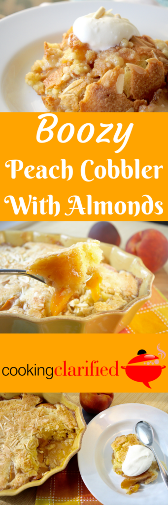 This Boozy Peach Cobbler with Almonds is a delicious mix of peaches in a moist, cakey batter after having been soaked in brown sugar and Peach Schnapps because what's better than a peach cobbler? A boozy peach cobbler, of course.  Don't worry, most of the alcohol evaporates away as the cobbler bakes. What remains is peaches infused with an even peachier flavor than when we started. Peachier peaches. Yaaaasss!  Top your cobbler with a dollop of sweetened whipped cream and you're in for a peach of a treat. Top it with scoop of vanilla ice cream and you're halfway to heaven.
