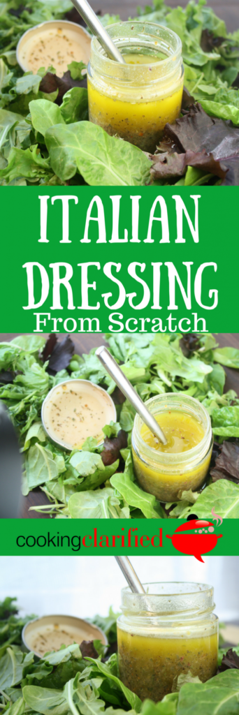 "This Italian Dressing will make you forget all about the bottled stuff (or that stuff in the packet) you've been eating. One taste and you'll be all, ""oh, Italian Dressing from scratch, where have you been all my life?"" Now it can be all over everything - salads, marinating your chicken, brushed liberally on corn on the cob hot off the grill. Mix up a batch or a double batch and store it in an air tight container in the fridge for up to a week and you can have Italian Dressing from scratch anytime you like."