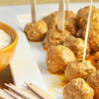 Buffalo Chicken Meatballs with Blue Cheese Ranch Dipping Sauce