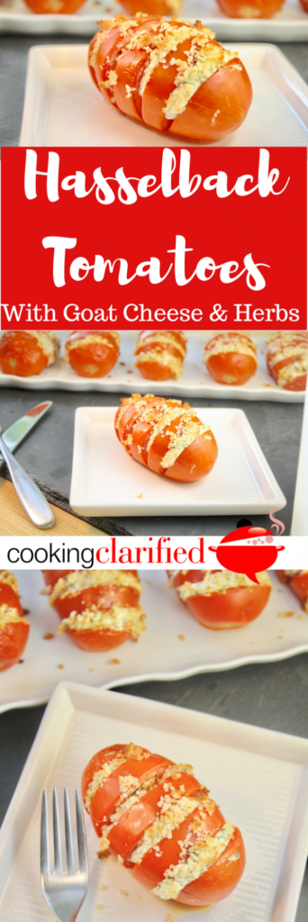 A quick and easy side dish recipe, like these Hasselback Tomatoes with Goat Cheese & Herbs, is a great thing to have in your back pocket. Bonus points if it's delicious and impressive enough to serve for guests. Enter Hasselback Tomatoes. Yes, tomatoes!  The term Hasselback is usually applied to potatoes that are thinly sliced, accordion-style, seasoned and then baked. The end result is potatoes with the crispiest of edges and soft, creamy centers. Tomatoes get the treatment in this recipe that is just the tasty side dish you're looking for!