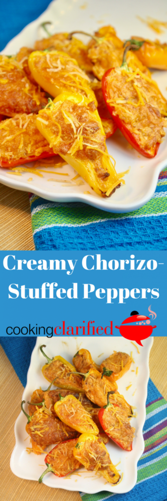 Creamy Chorizo-Stuffed Mini Peppers are always a crowd favorite. The chorizo adds a hint of spice but the cream cheese and cheddar soften the blow. They make the perfect snack for impromptu get togethers or game day spreads.