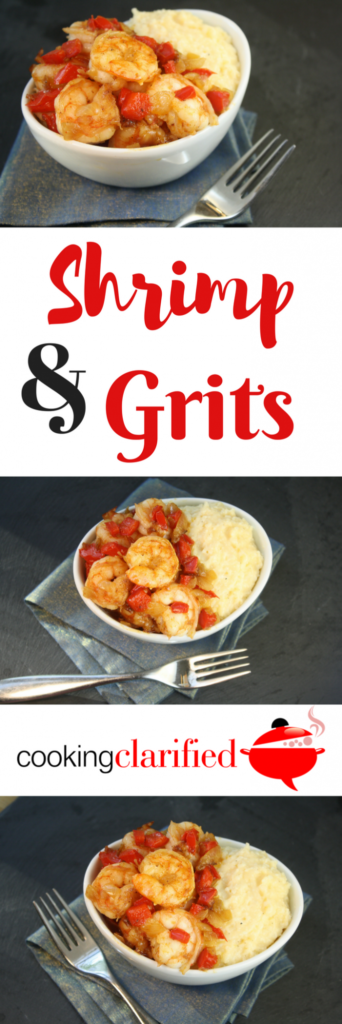 Make Shrimp & Grits! Shrimp & Grits are a southern staple. Originating from the Carolina low country, they are a classic dish served for breakfast or dinner. Folklore has it that Shrimp & Grits got its start as the breakfast of fishermen who tossed sauteed shrimp onto a bed of grits.  My version also includes diced onion, red bell pepper and garlic served atop the cheesiest grits ever.