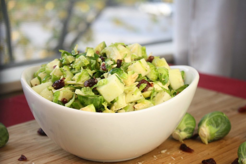Brussels Sprouts Salad with Apples & Cranberries