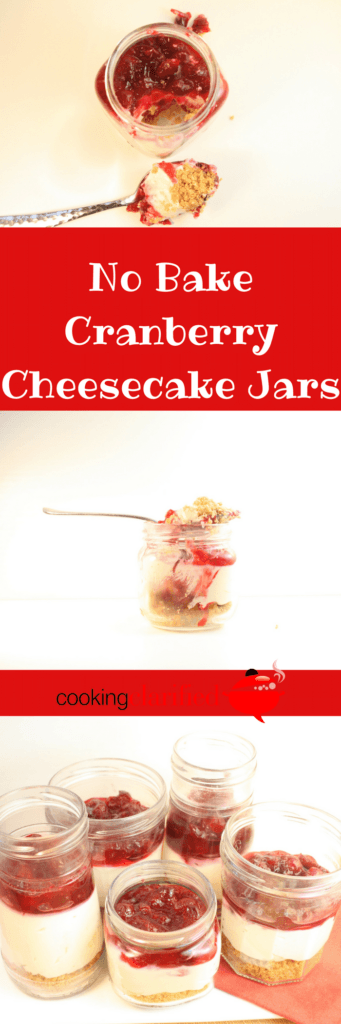 These No Bake Cranberry Cheesecake Jars are the answer to your potluck prayers. See, they're cheesecake (so, yum). They're no bake (so, simple). They're easy to transport AND pre-portioned (so, no spills all over your car or interrupting your fun to slice and serve). Most importantly, they taste like cheesecake heaven and are cute to boot!