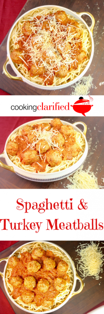 Spaghetti & Turkey Meatballs are just the thing your dinner table needs! Tender turkey meatballs gently simmered in a quick tomato sauce and you can have a hearty meal on the table in no time!!