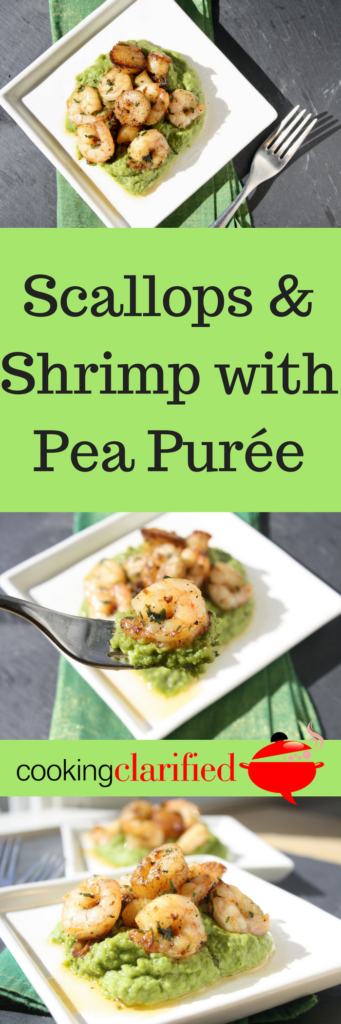 This Scallops & Shrimp with Pea Puree is a mouthwatering, velvety alternative to traditional steamed or sautéed peas. It makes the most of their naturally sweet flavor, which is the perfect balance to the richness of the seafood.