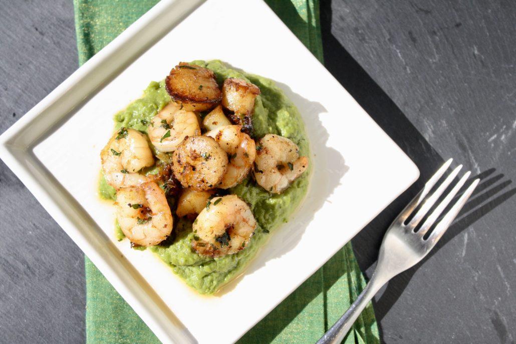 How to Make Pea Puree | Scallops & Shrimp with Pea Puree