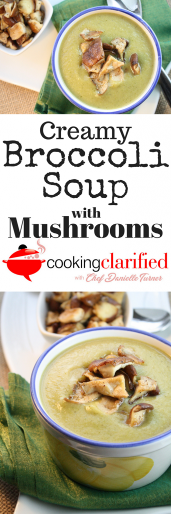 Creamy Broccoli Soup with Mushrooms is a soup-lover's dream! So much broccoli flavor combined with the a hearty garnish of sauteed mushrooms. You won't be able to stop with just one bowl.