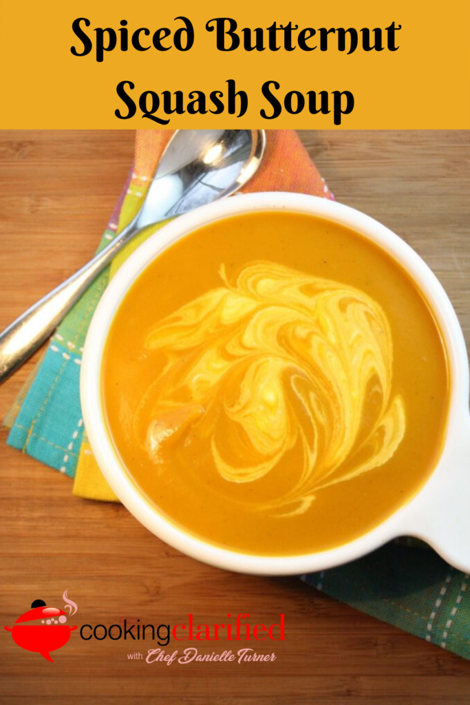 Spiced Butternut Squash Soup is one of the first soups I learned to make in cooking school. It's good. Really good on its own, but toss in a little cumin, turmeric and paprika and it's divine and completely unexpected. The squash itself can be pretty sweet when it's cooked and the spices give it a warmth and contrasting flavor that make you feel like you've never tasted butternut squash before. Get this soup on your stove right away and put winter in its place, your bowl.