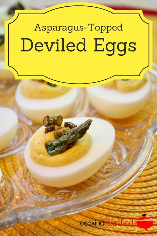 Simple to prepare and easy to transport, Asparagus-Topped Deviled Eggs are the stuff great picnics and pot lucks and dinners and parties - basically any occasion requiring good eating - are made of. They're perfectly portioned, easy to customize and so good. Really good, so any time I have an opportunity to make deviled eggs, I do. Super Bowl parties, cocktail parties, Tuesday night - whenever, wherever, they're a fun way to fancy up an egg.