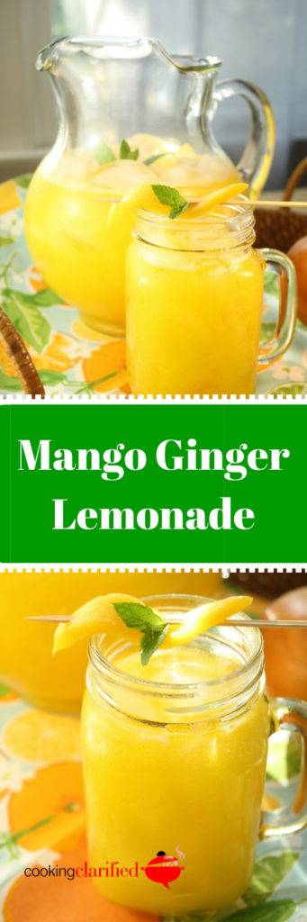 This Mango Ginger Lemonade relies on fresh, ripe mangoes for it's refreshing flavor. You'll need three cups of diced mango, from two to three mangoes, depending on their size. The result is a mango-intense lemonade with an almost creamy mouth feel. If texture's not your thing, you can strain the lemonade before serving.