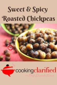 Sweet and Spicy Roasted Chickpeas are your next favorite snack! They're easy to prepare. You can spice them up any way you like and they're done in a flash!